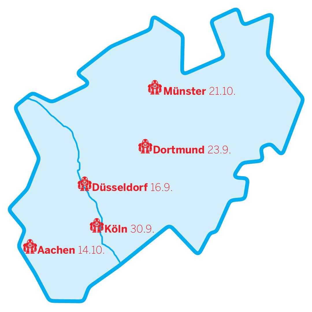NRW-Karte mit markierten Städten